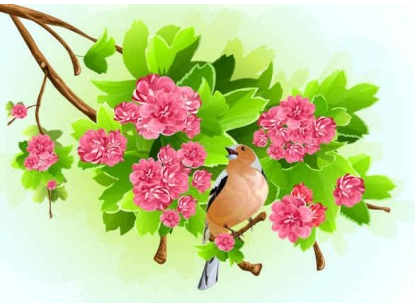 Green Leaf Pink Flowers Background Free vector