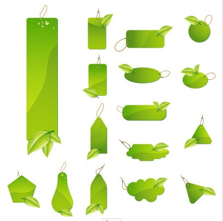 Green Leaf Tag Labels Vector Set vector