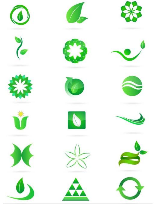 Green Nature Bright Symbols art vector graphics