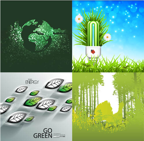 Green Nature Set vector graphics