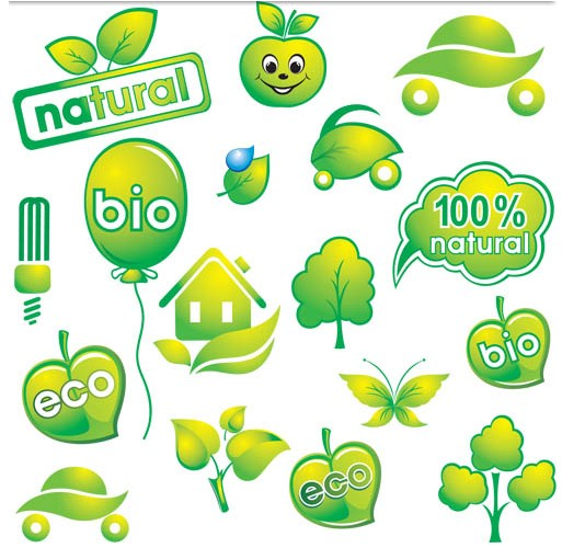 Green Vivid Eco Elements set vector