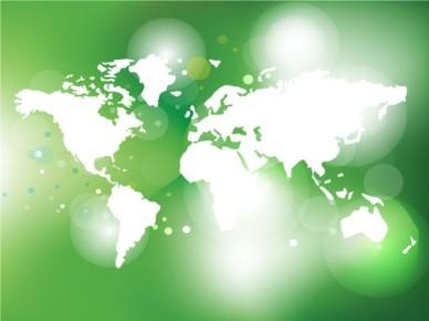 Green World Map vector