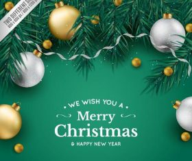 Green chrismtmas background with baubles and fir branches vector