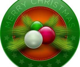 Green christmas badge with fir branches vector