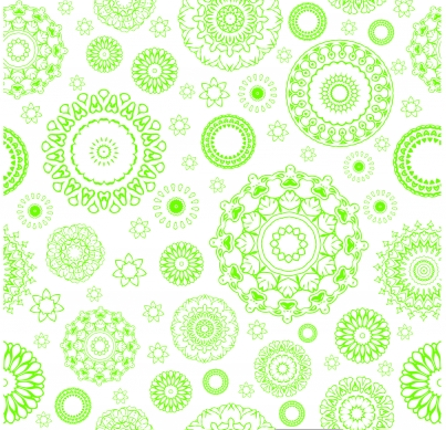 Green circle flower pattern Free vector design