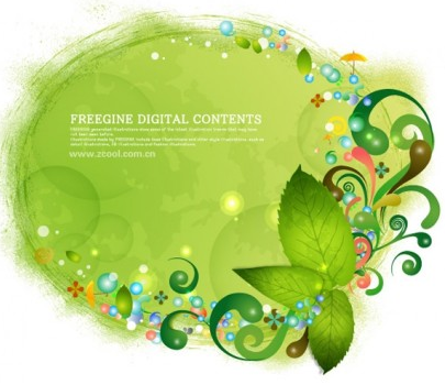 Green leaves background pattern vectors