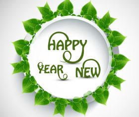 Green leaves frame with new year card vector