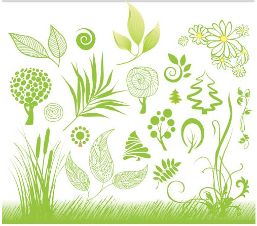 Green trees and flowers vector
