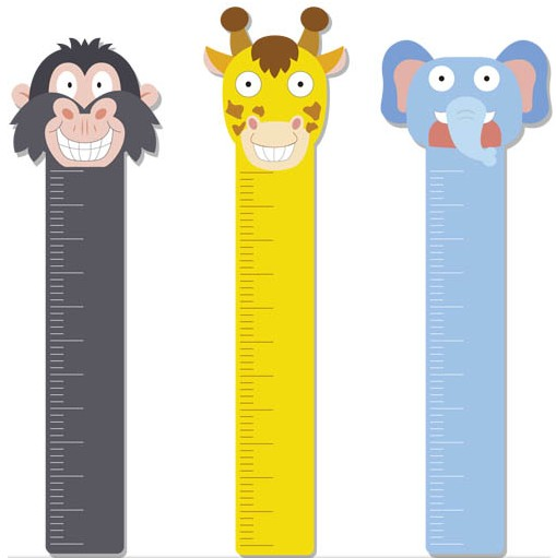 Growth Meter with Animals set vector