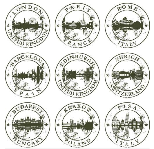 Grunge City Labels vector