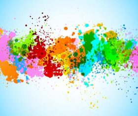 Grunge colored paint with watercolor background vector 01