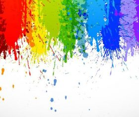 Grunge colored paint with watercolor background vector 02