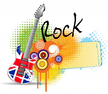Guitar rock music background vector graphic