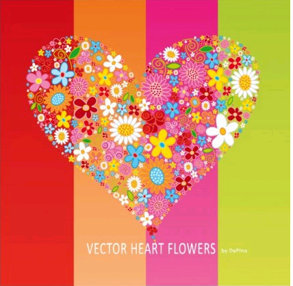 HEART Flowers graphic vector