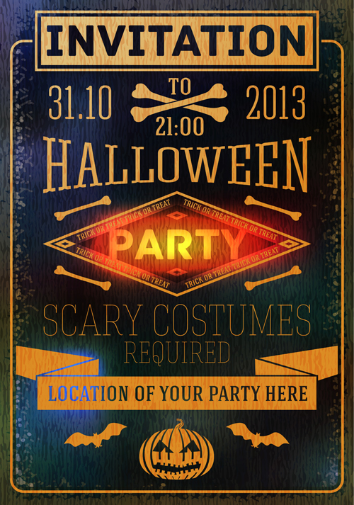Halloween Invitation Cards Vectors Material Free Download