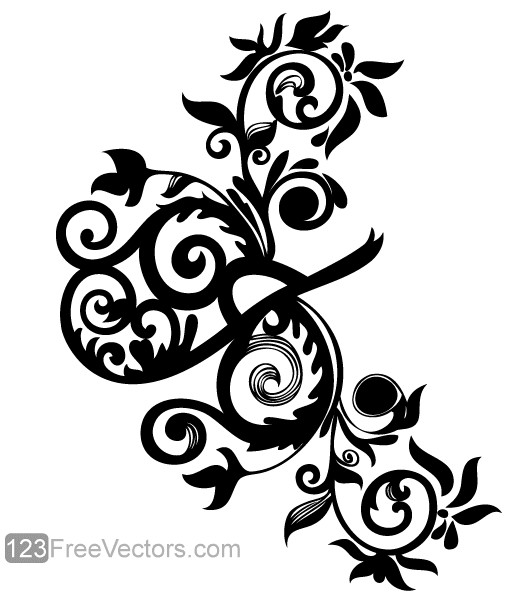 Hand Drawn Swirl Floral Image shiny vector