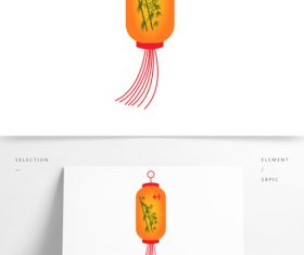 Hand drawn bamboo pattern festive lantern vector