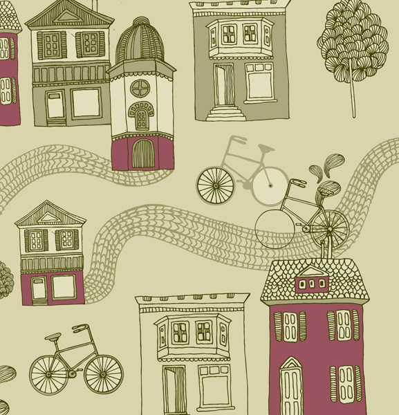 Hand drawn bike and building 1 vector graphic