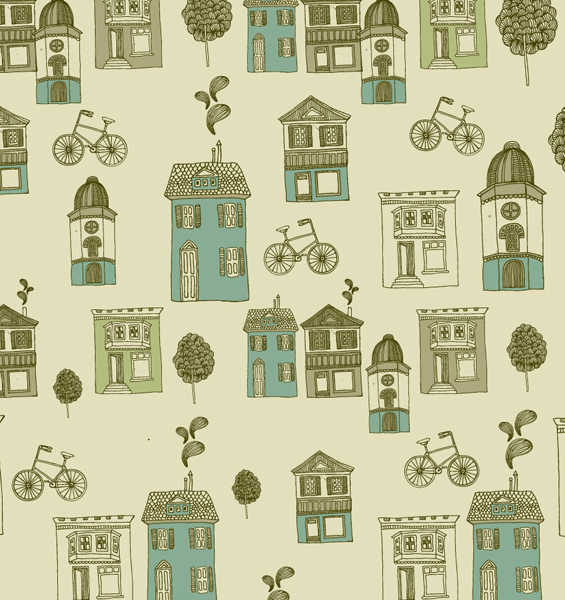 Hand drawn bike and building 2 vector graphic