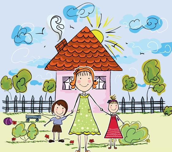 Hand drawn cartoon family vector