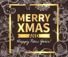 Hand drawn christmas frame with new year background vector