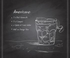 Hand drawn coctail menu with blackboard vector 05.