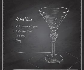Hand drawn coctail menu with blackboard vector 08