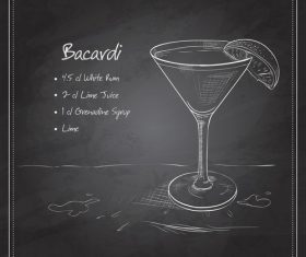 Hand drawn coctail menu with blackboard vector 06