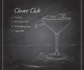 Hand drawn coctail menu with blackboard vector 09