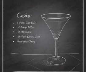 Hand drawn coctail menu with blackboard vector 07