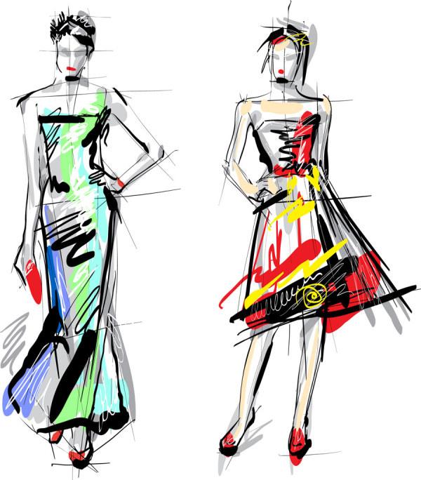 Hand drawn fashionable dress 1 vectors