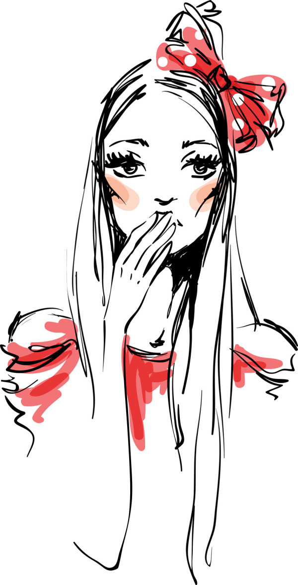 Hand drawn fashionable dress 3 vector