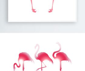 Hand drawn flamingo silhouette vector