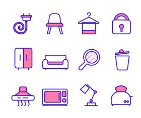 Hand drawn household items icon vector