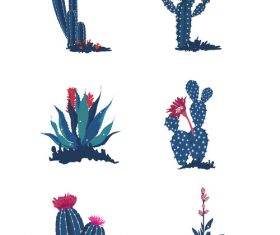 Hand drawn plant cactus flower vector