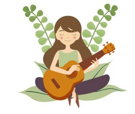 Hand drawn play guitar girl vector