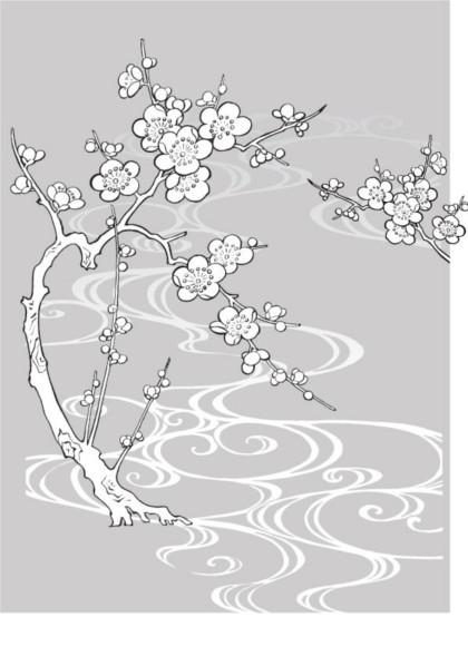 Hand drawn white Plum vectors graphics