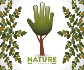 Hand tree with natural background vectors