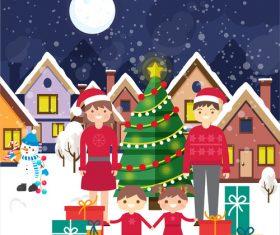 Happy Christmas family vector illustration
