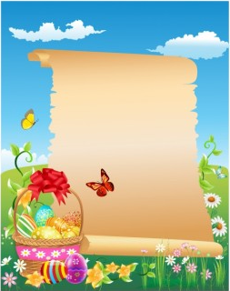 Happy Easter scroll vector graphics
