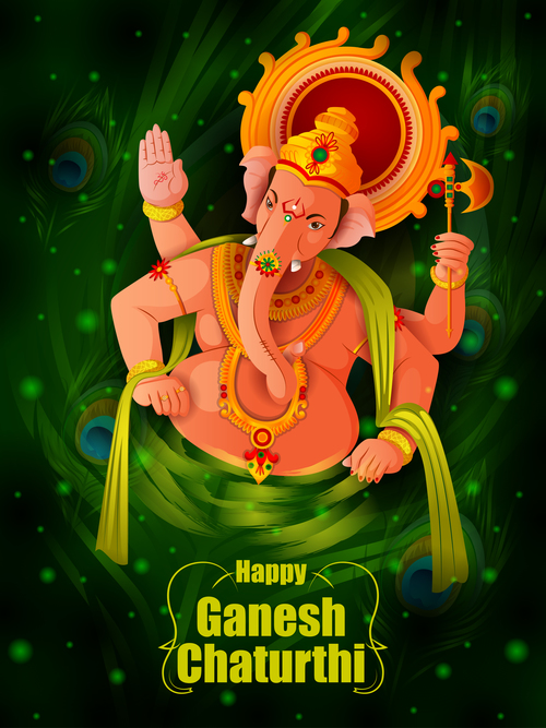 Happy Ganesh Chaturthi festival vector design 08