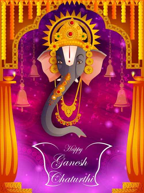 Happy Ganesh Chaturthi festival vector design 09