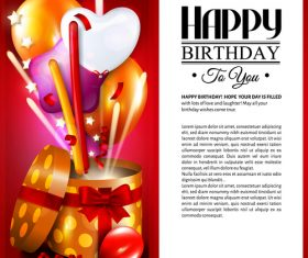 Happy birthday card with gift boxs design vector 03