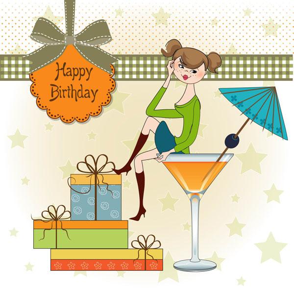 Happy birthday gift card 1 set vector