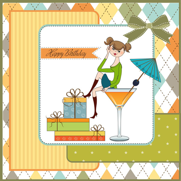 Happy birthday gift card 2 set vector