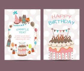 Happy birthday greenting card cartoon styles vector 03