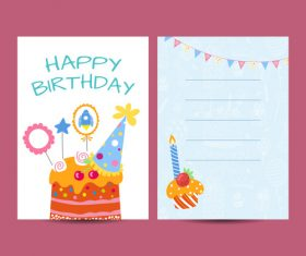 Happy birthday greenting card cartoon styles vector 10