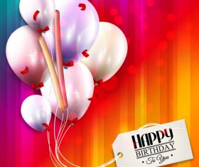 Happy birthday tags with colored background vector 01