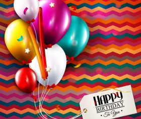 Happy birthday tags with colored background vector 02