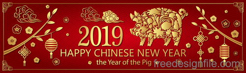 Happy chinese new year 2019 banners vector 01
